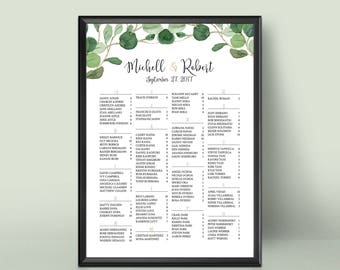 Wedding Seating Chart Alphabetical, Floral Wedding Seating Chart, Wedding Seating Chart, Wedding Seating Chart Poster, Wedding Sign
