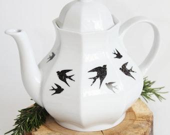 Tea pot Swallows, Screenprint, black and white, tea tableware, nature print, tableware
