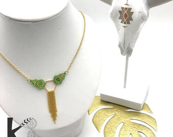 Gold and green MAYA necklace