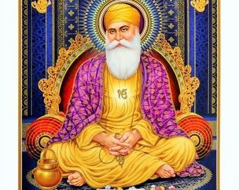 Gurunanak Devji With Golden Zari Art Work Poster Without Frame (25 X  36 Inches)