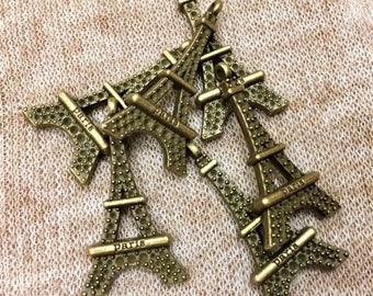 Antique Gold Eiffel Tower Charm, 6 pieces, Antique Brass Paris Charm, French Lover Charm, Paris Charm, Eiffel Tower, France Charm, Brass