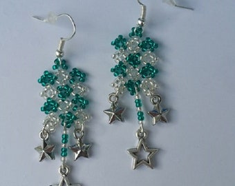 Tapestry Rectangle, and stars pattern white and turquoise earrings