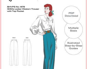 Vintage Sewing Pattern Reproduction - Multiple Sizes - 1940's Ladies' Western Trousers Pants with Top Pockets No.1479 - INSTANT DOWNLOAD PDF