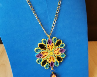 Handcrafted Quilled Mandala pendant with long chain