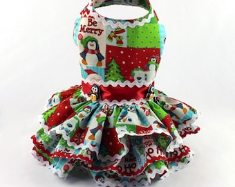 Dog Dress, Dog Harness Dress, Christmas Dress for Dogs, Holiday Dress, Ruffle Dress, Handmade Dress, Dog Fashion for Small Dog, Penguin