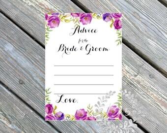 Instant Download- Advice for the Bride & Groom, Wedding shower, bridal shower game, shower game, purple lavender, spring wedding