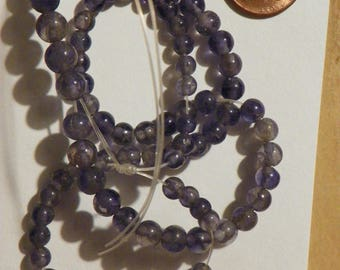 Blue Iolite Loose Beads String 4.71 MM. to 7.31 MM. Rounds 16 Inches.