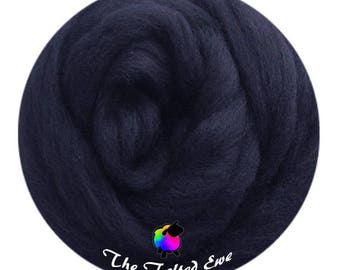 Needle Felting Wool Roving / ES37 Indus Indigo Carded Wool Sliver
