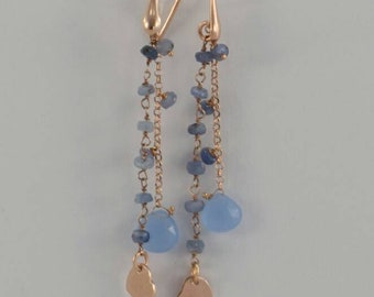 Silver 925 gold plated rose earrings with hard stone iolite and chalcedony with final heart-shaped charm