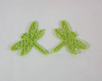 Embellishments/applique/subjects in lime green dragonflies felt
