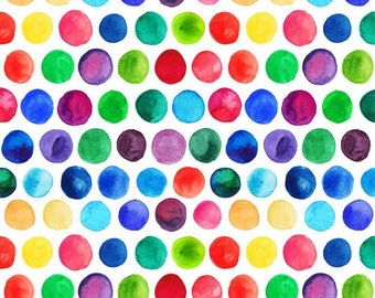 "Watercolor dots 1"" euro oeko tex knit  1 yard"