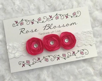 Pretty Pinks Satin Flower Headband