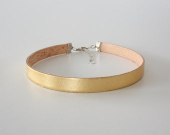 Gold Leather Choker Necklace