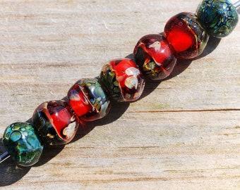 Lampwork BORO glass beads (7), borosilicate glass beads, handmade borosilicate lampwork glass beads, vermilion scarlet red. borosilicate SRA