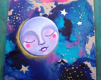 Lavender Moon / Mixed Media Painting