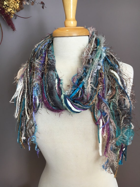 Fringie in Snowbound, All Fringe Scarf, Handmade hand-tied art fringe scarf in teal purple white, bohemian, gifts, short scarf, fur, funky
