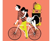 Print Couple on Bicycle with suitcases, travelling - cute valentines just married giclee illustration in black, peach, lime yellow and white