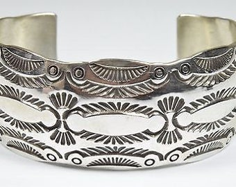 Navajo Hand Stamped .925 Sterling Silver Domed Scalloped Edge Cuff Bracelet