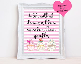 Cupcake Print, Printable Quotes, Wall Decor, Home Accessories, Cupcake Decor, Water Color Prints, Pretty Prints, 8x10 Water Color, Prints
