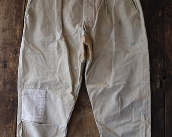 """Vintage 1960s 60s French tan brown cream cotton breeches repaired 32"""" x 25"""" darned work workwear hunting riding chore"""