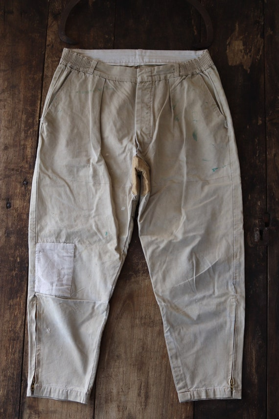 "Vintage 1960s 60s French tan brown cream cotton breeches repaired 32"" x 25"" darned work workwear hunting riding chore"