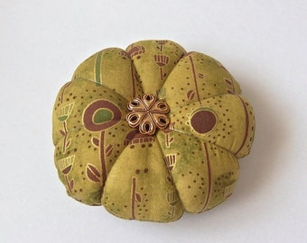 Olive Green PINCUSHION . Great for a sewing gift. Round Pin cushion Double Sided.  Pins holder sewing gift. Floral Garden Pincushion