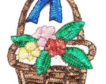 """Flower Easter Basket, Sequin Beaded, 9"""" x 6.5""""  -B282"""