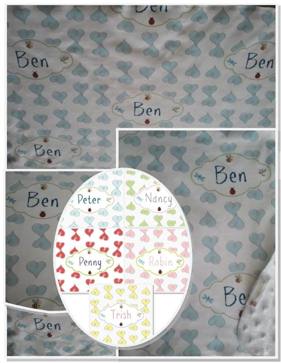 Personalized Custom Organic Cotton Blanket -Baby Blankets, Valentine Blanket, Baby Gift Doddle Hearts Blue, Kiwi, Lipstick, Pink, Yellow
