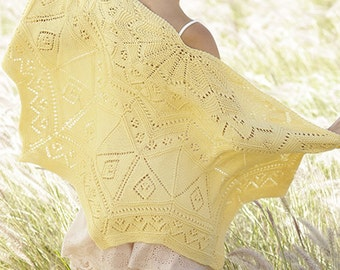 handknit shawl, oversized wrap, semicircle shawl, choose your color shawl, yellow shawl, lace shawl, MADE TO ORDER, gift for her
