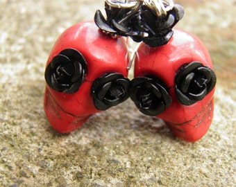 Day of the Dead Earrings Red Turquoise Skull Jewelry Rockabilly Jewelry Goth Day of the Dead Jewelry Halloween Earrings