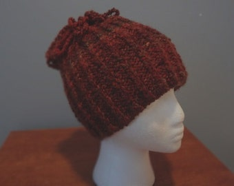Hand-Knit Hat Spice Color with Curly Loop on Top. For men or women- Ready to be Shipped - Free Shipping