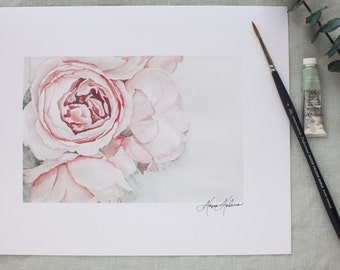 Watercolor Peonies in Bloom Painting | Watercolor Fine Art | 8x10 | Peony painting