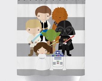 star wars shower curtain, fabric shower curtain, little kid character star wars, star wars quote