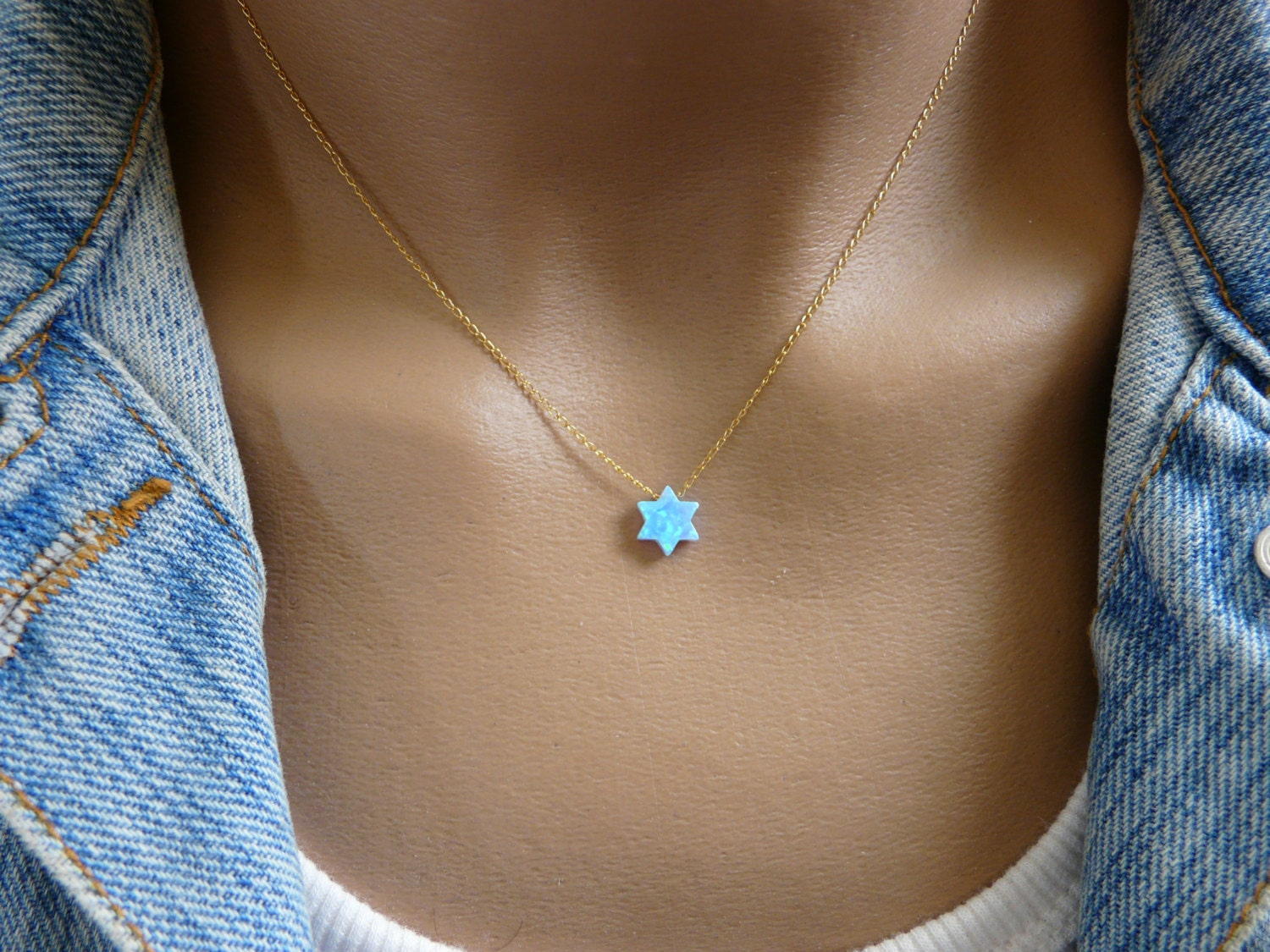 Magen david star of david necklace blue opal necklace zoom aloadofball Gallery