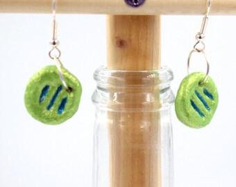 Handmade, iridescent earrings, green-yellow, green blue, button earrings, eco packaging, lightweight earrings, handmade jewelry, sister gift