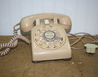 Bell Systems Rotary Desk Phone - Tan - item #2935
