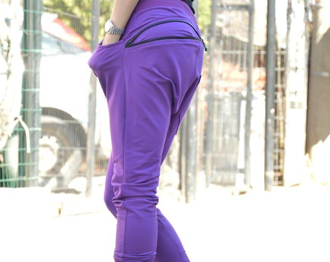 Loose Harem Pants, Extravagant Cotton Pants, Sport Pants, Maxi Pants, Casual Drop Crotch Pants, Side Zipper Pocket by SSDfashion