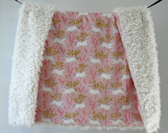 NEW! Dream Blanket, Pink Gold Unicorns Minky with Ivory Faux Fur