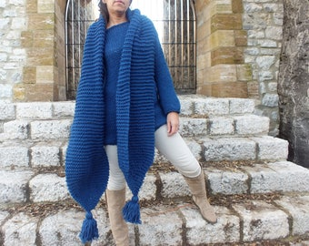 Extra long scarf, Tassel scarf, Wool scarf, Chunky scarf, Denim blue scarf, Oversized knit scarf,  bulky scarf, Long knit scarf