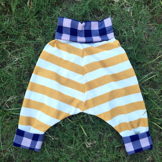 Boys yellow stripes and blue plaid harem pants (sizes 6 months to 4 years)