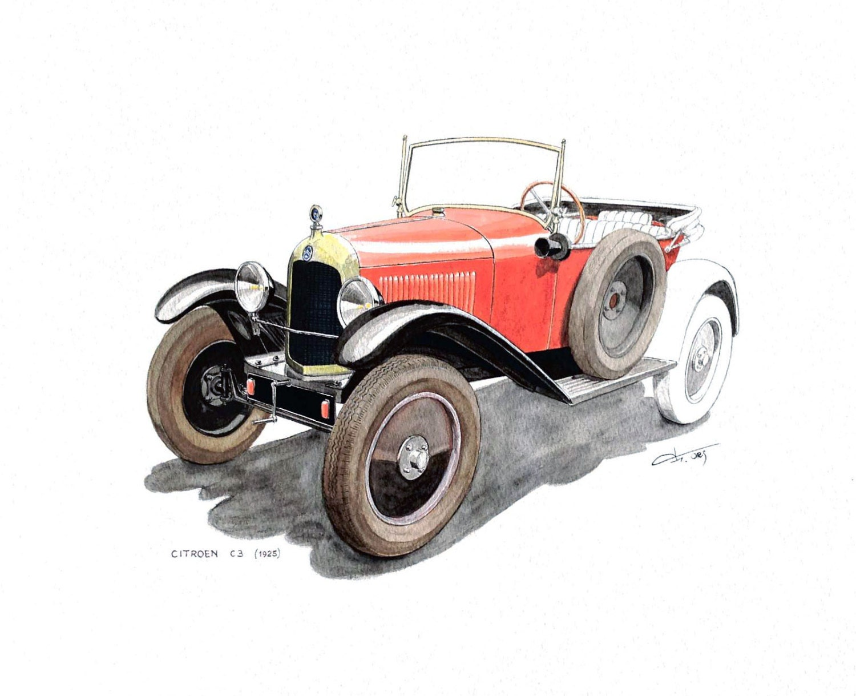 Original watercolor painting old car Citroën C3 1925