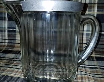 Fantastic Vintage Glass Syrup Pitcher McK. G. CO. U.S. 1951  True Mid Century Diner