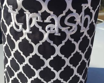 Car trash bag - Custom made in any color or print - wide black and white quatrefoil
