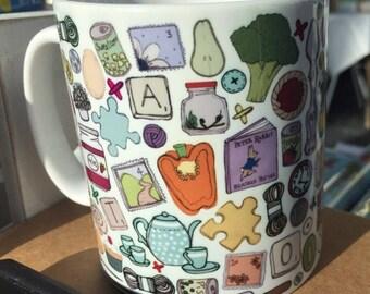 Cwpan gyda Patrwm Ddarlun Lliwgar! 11oz - Fun, Colourful Mug with Hand Illustrated Pattern! 11oz