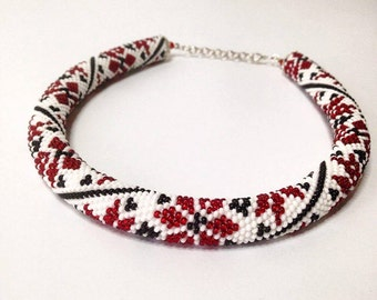 Ukranian necklace. White Red Black necklace. Traditional Ukrainian print. Bead crochet rope seed beads