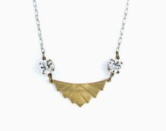 Geometric Necklace Chevron Necklace Art Deco Rhinestone Necklace