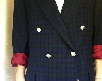 Double Breasted Jacket in Dark Blue and Green Tartan Plaid of Virgin Wool, Oversized Formal Casual Checkered Blazer from the 80s-90s