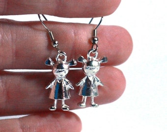 Toy Doll Earrings - Baby Doll Metal Charm Earrings - Womens Jewelry - Doll Earrings - Dress Up Jewelry