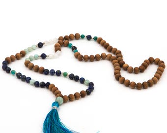 108 bead mala with lapis lazuli