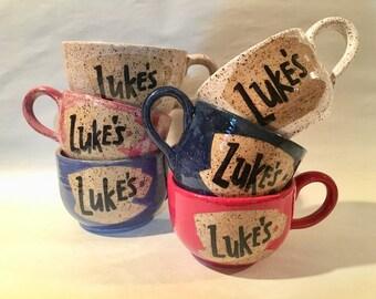 Luke's Diner Ceramic Latte Mug / wheel thrown mug / handmade mug - READY TO SHIP